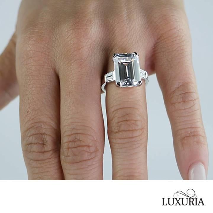 Large Fake Diamond Rings Celebrity Emerald Cut Engagement Ring