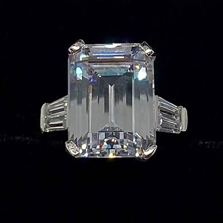 Large fake diamond rings emerald cut 8 carat LUXURIA brand