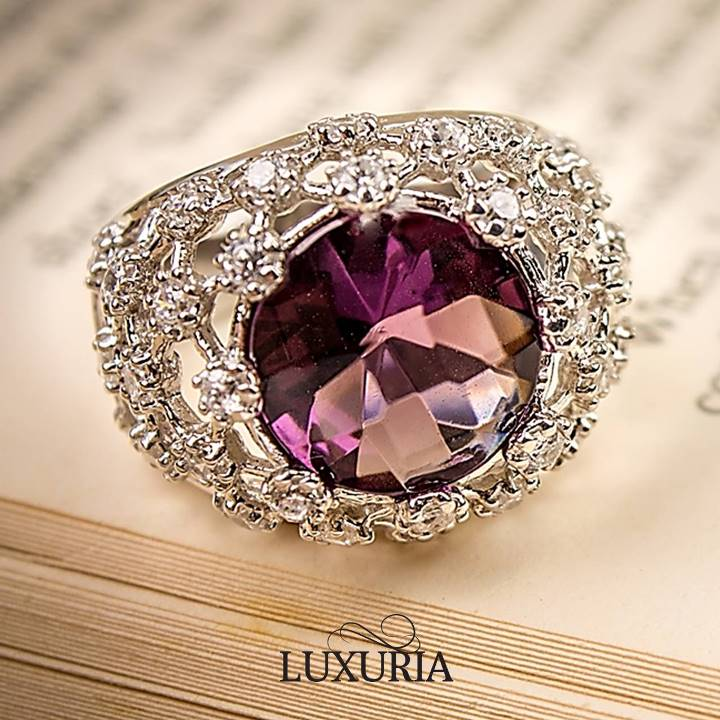 Not all purple stones are Amethyst. This is a purple crystal glass briolette stone ring LUXURIA