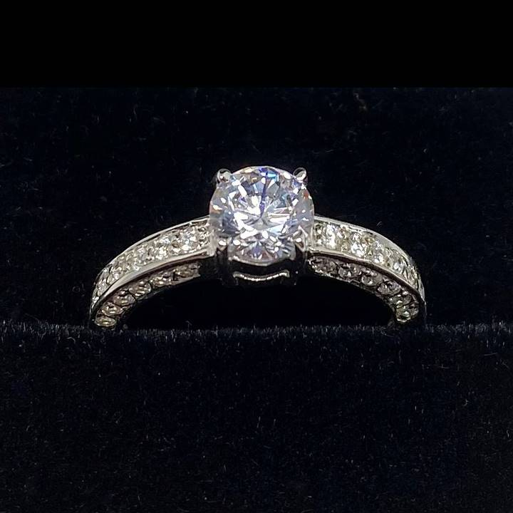 Trio micropave simulated diamond ring with round cut solitaire LUXURIA