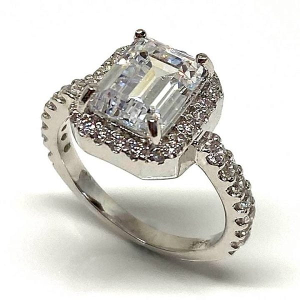 Emerald cut halo engagement ring LUXURIA