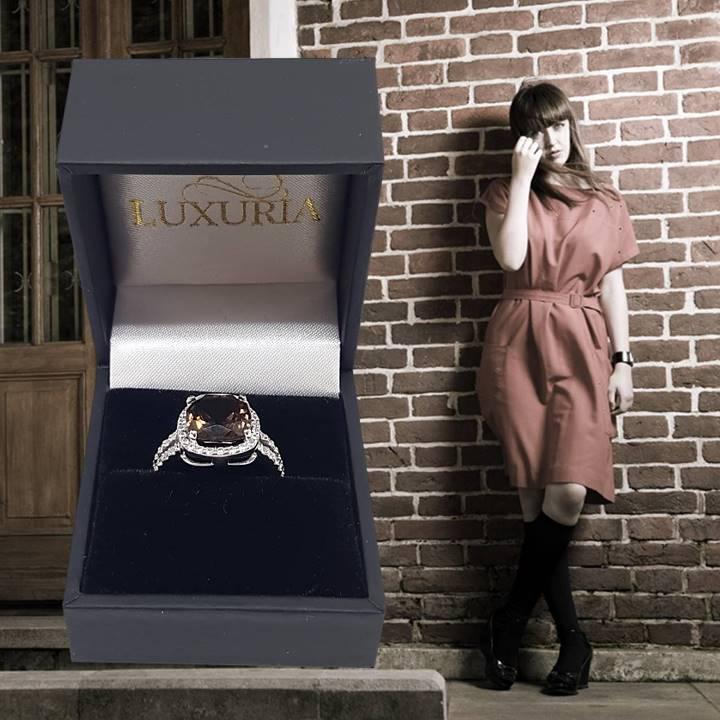 Smoky quartz engagement ring LUXURIA