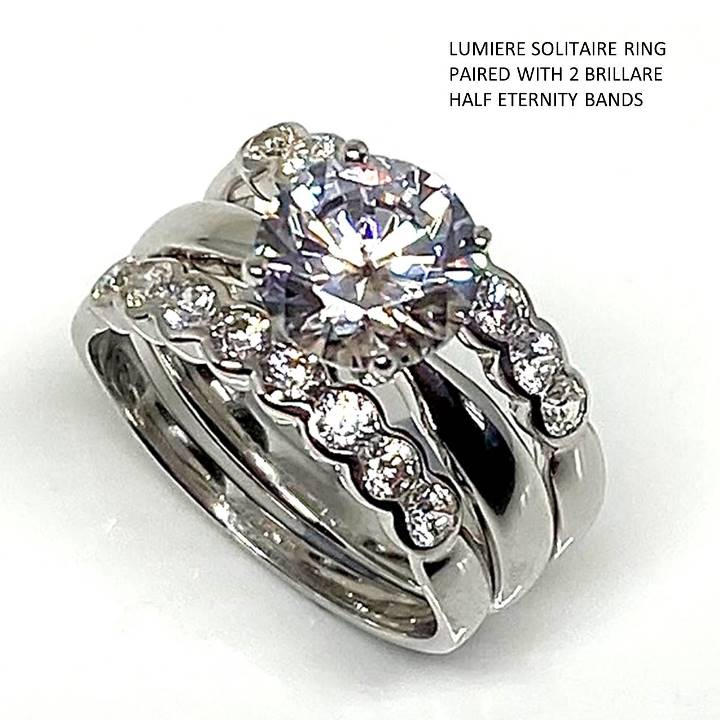Fake engagement rings solitaire half eternity bands