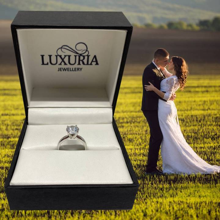 Faux diamond rings with bride and groom
