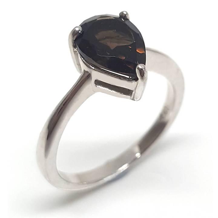 Smoky quartz solitaire ring Luxuria