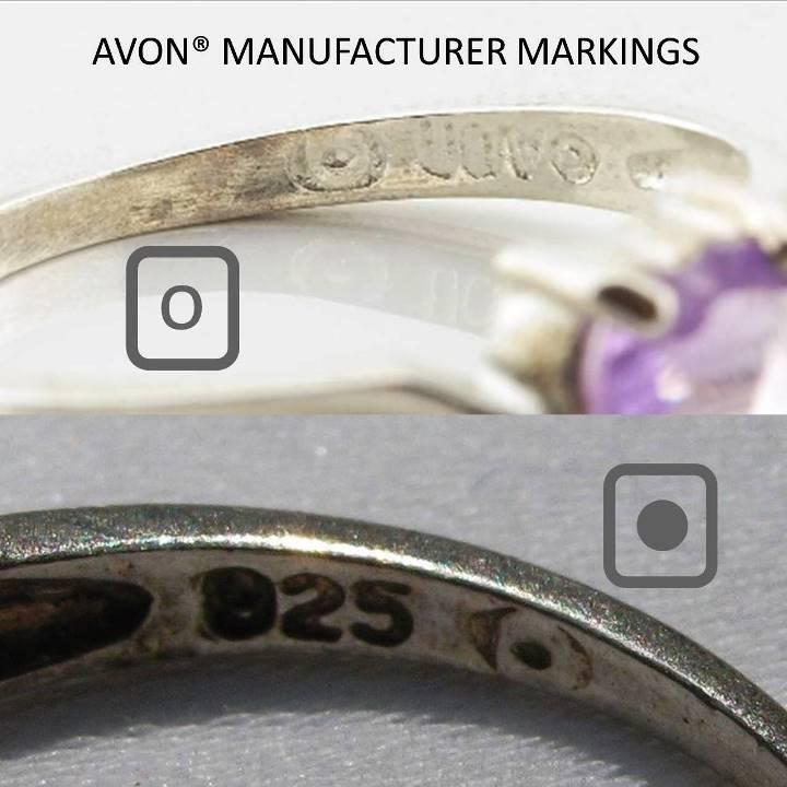 Avon manufacturer mark 0 inside a box or dot inside a square