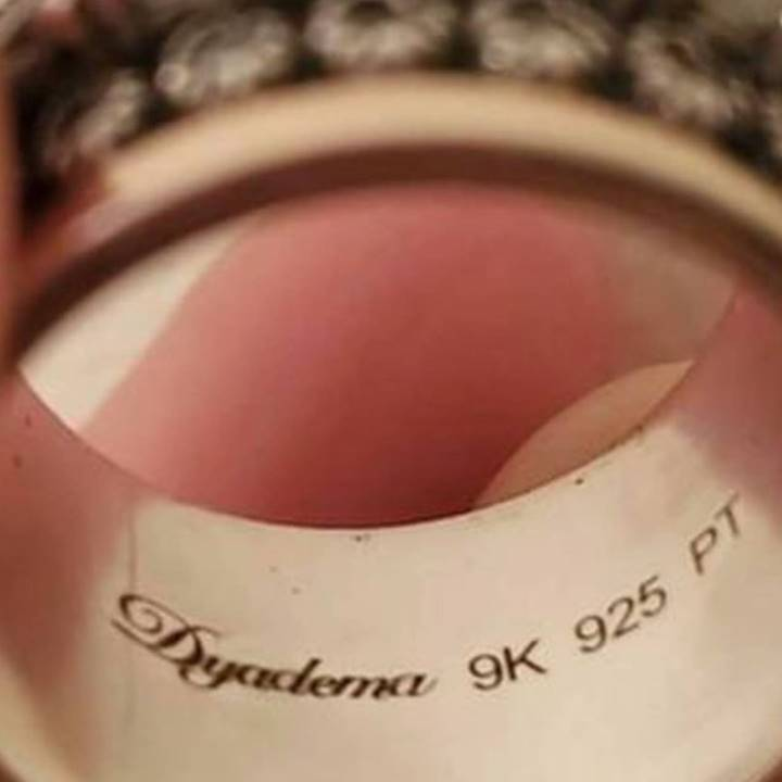 What does 9K 925 PT mean stamped on a ring