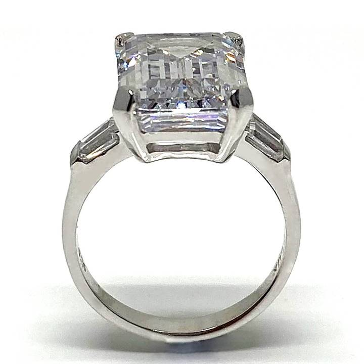 CELEBRITY INSPIRED EMERALD CUT CZ ENGAGEMENT RING-YGP STERLING SILVER SZ 7