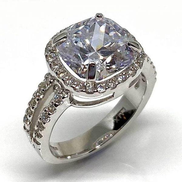 cushion cut fake engagement ring Luxuria Diamonds