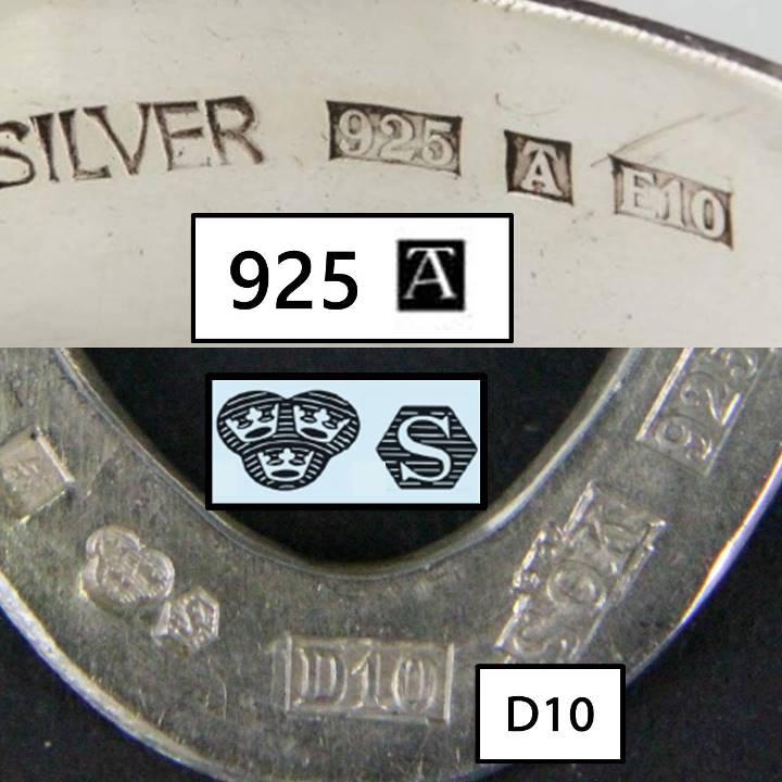 Swedish 925 hallmarks control mark town mark