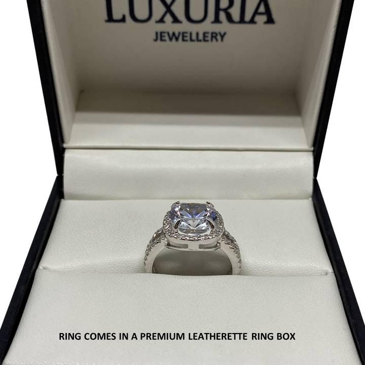 4 carat fake diamond ring in box LUXURIA jewelry brand
