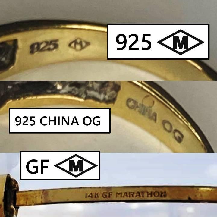 Jewelry signed M inside a diamond shape border