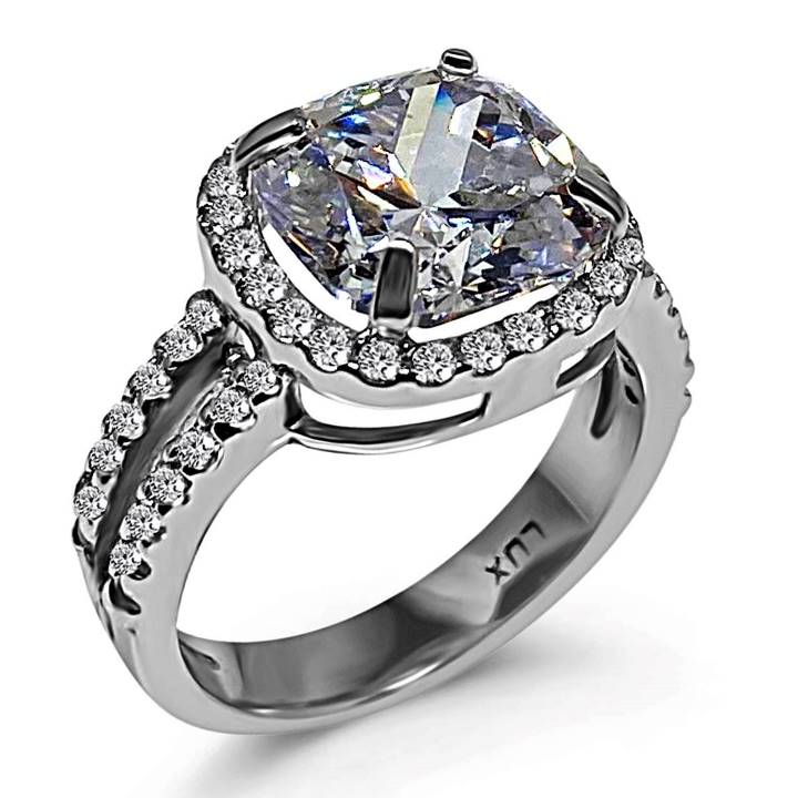 Cushion cut fake engagement ring with halo