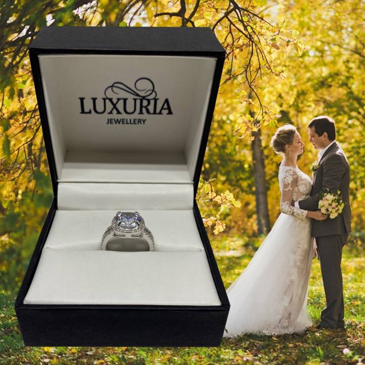Halo engagement ring in box LUXURIA brand